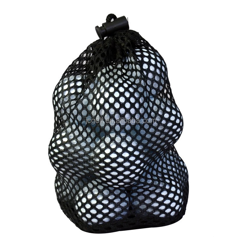Nylon mesh drawstring bag for 12 golf balls