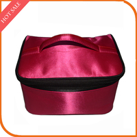 Portable Satin Cosmetic Bag Rose Red