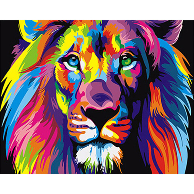 Frameless Colorful Lion Animals Abstract Painting Diy Digital Painting By Numbers Modern Wall Art <strong>Picture</strong> For Home Wall Artwork