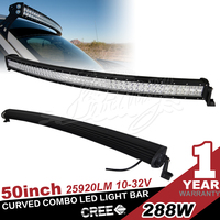 50 inch 288w curved radius led light bar combo beam for off road 4x4,10w chip