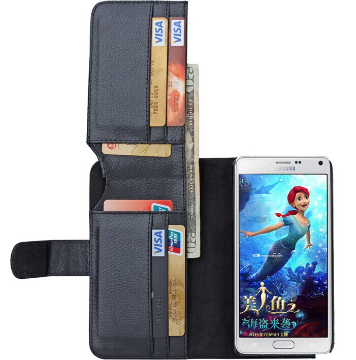 Busines Wallet Stand Design PU Leather Case Cover For Samsung Galaxy S6 S5 S4 S3 NOTE 4 NOTE 3 With 6 Card Holders Flip Cover