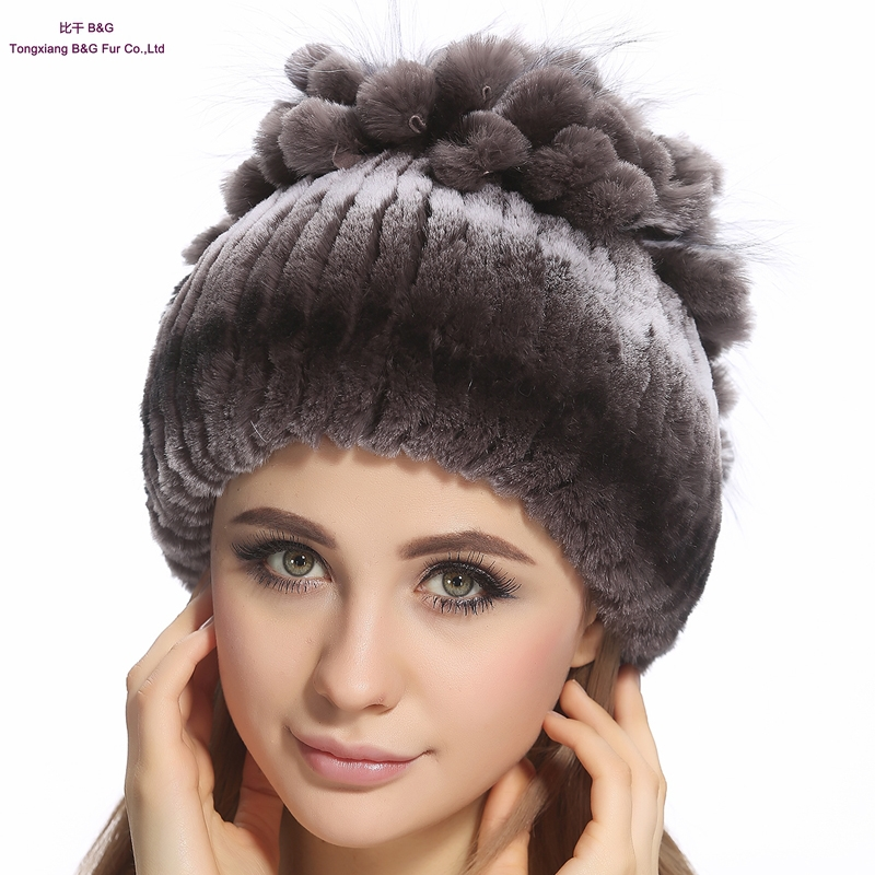 Women Genuine Knitted Fur Hats Real Rex Rabbit Fur Beanies Gradient Color Fur Hat 2015 Winter Warm Fur Hats for Girls BG80238