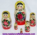 Russian Babushka Doll Wooden Matrioshka with Ethnic Ornament, Folk Art Wooden Pieces, Wood Folk Art and Crafts Wholesale
