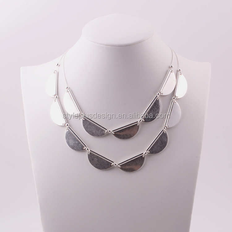 N74205Q01 Star chain italy jewelry silver models new styles fashionable silver plated two row statement necklace