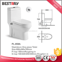 Washdown flushing floor mounted P-trap toilet porcelain ceramic one piece WC toilet