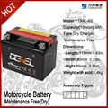 motorcycle battery ,dry charged and maintenance free battery