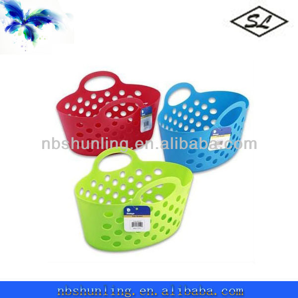"13"" plastic storage picnic basket with 2 handles"
