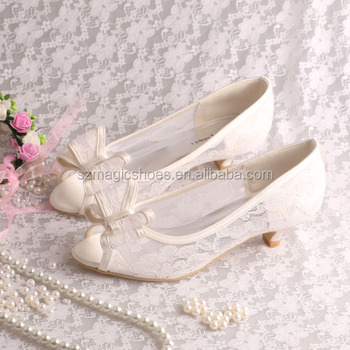 Bridal Low Heel Wedding Shoes Beige Lace