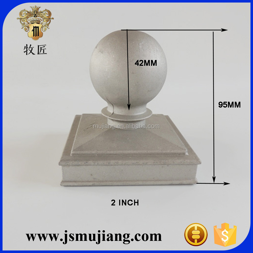 2 inch Aluminum fence square post cap with ball,Cast aluminium post ball caps for handrail,fence post