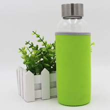 Outside green cloth glass drinking water bottle, custom glass water bottle with tea separeted