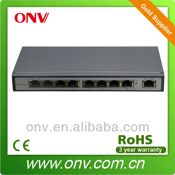 8 ports fast Ethernet PoE switch with 15.4W for IP camera