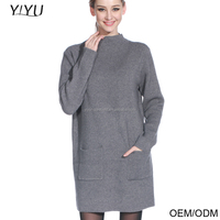 2016 fashion young girl style two pockets stand- collar dress pullover woolen sweater new korean designs for ladies