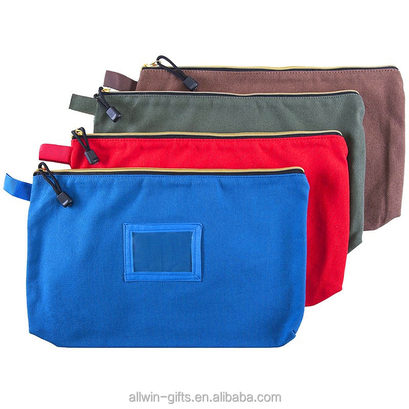 Custom made small heavy duty canvas tool bag with zipper closure