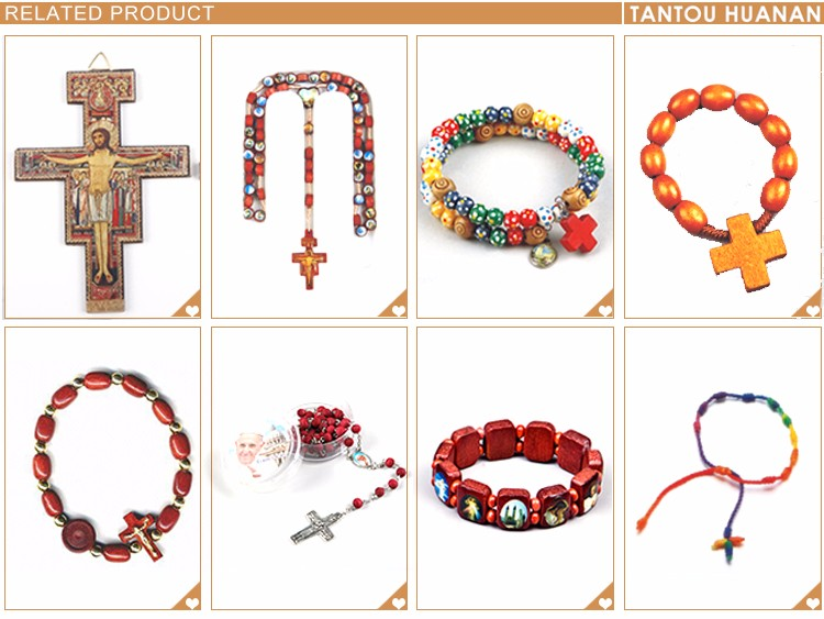 colourful wood steel wire bracelet rosary with cross