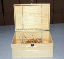 wholesale custom wine wooden box for six bottles wine case for packing use