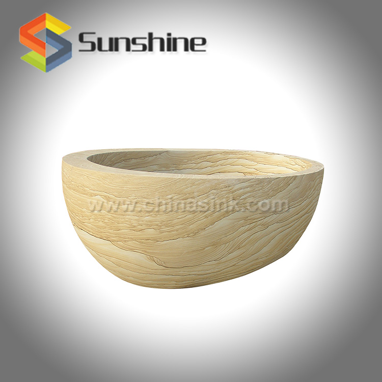 Wood Sandstone One High End Stone Bath