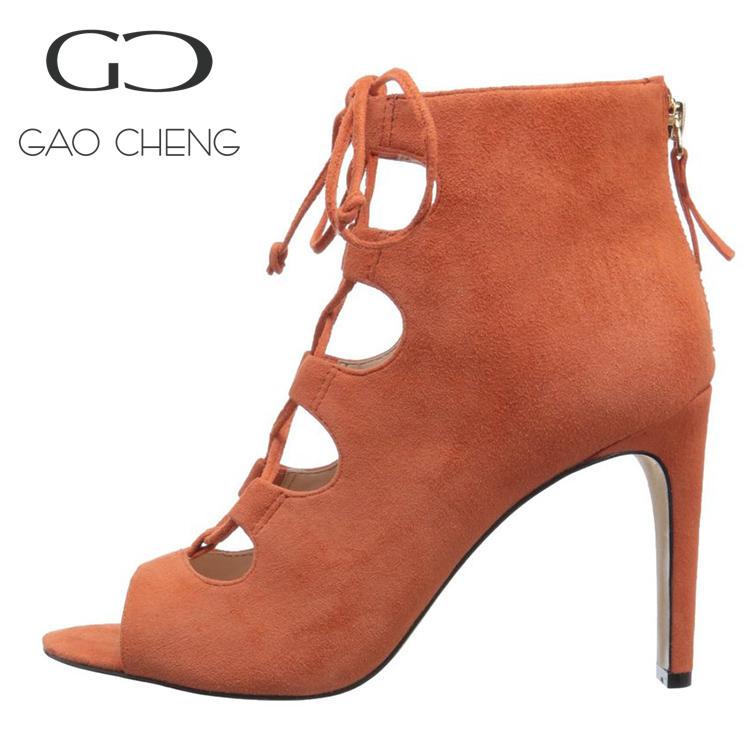 W096 Hot sell top brand orange color suede high heel shoes