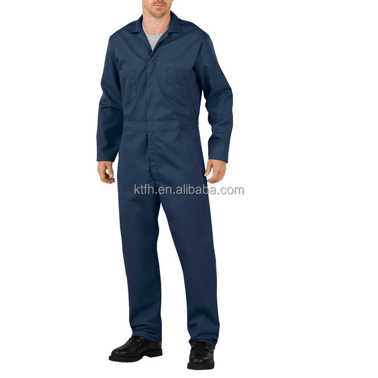 100 Dark blue cotton one piece fire resistant coverall clothing for welding