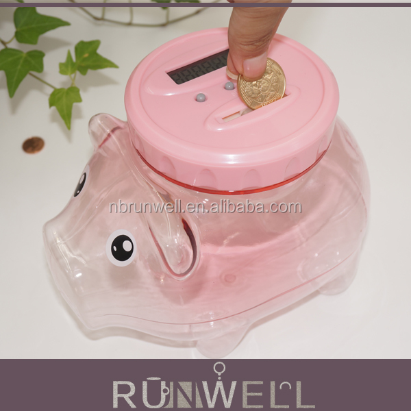 Pig shape plastic material transparent coin bank digital coin counting money bank