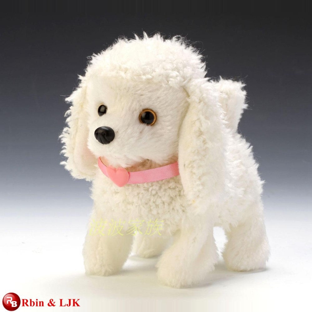 EN71&ASTM standard white stuffed toy walking puppy