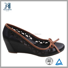 New design cute black wedge lady shoe 2013
