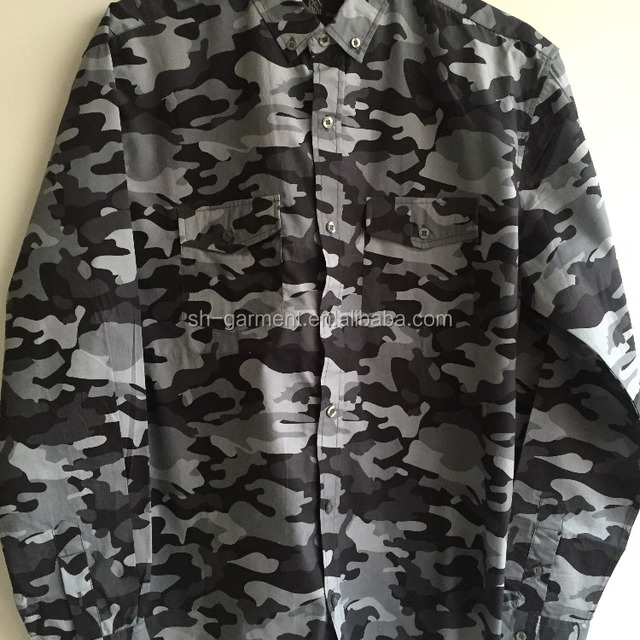 men's camouflage printed long sleeve shirt 2017S