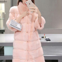 Modern Pink Faux Fur Mink Coat Big Fur Collared Coats