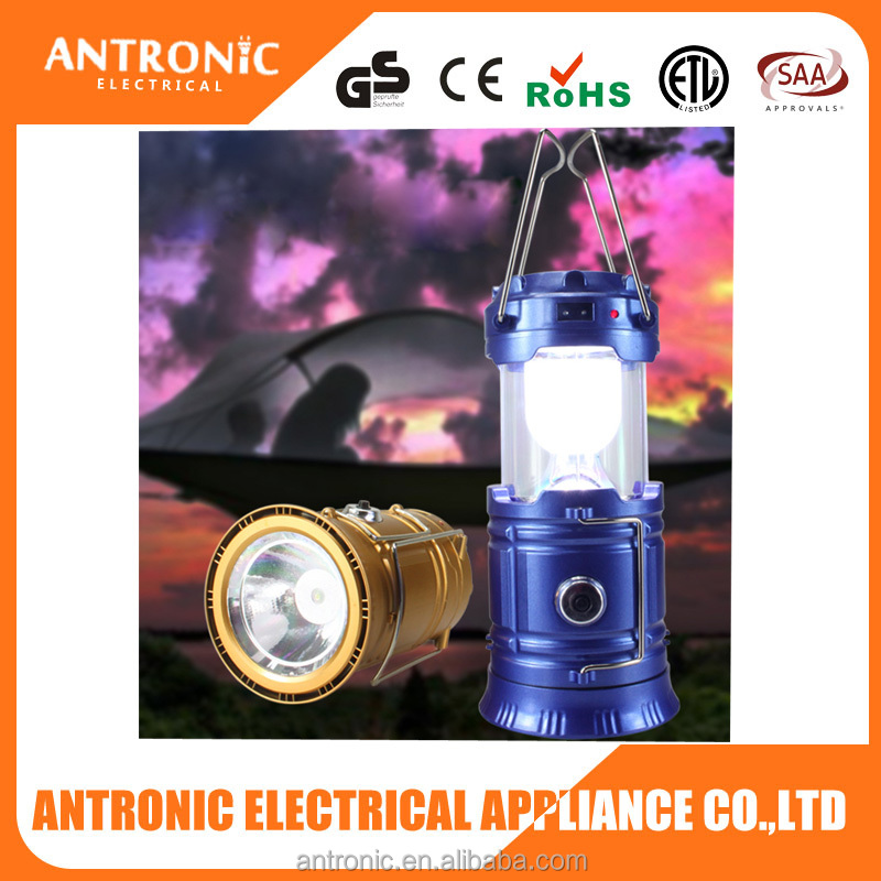 Antronic high quality brightest waterproof led camping light 3 in 1 solar rechargeable