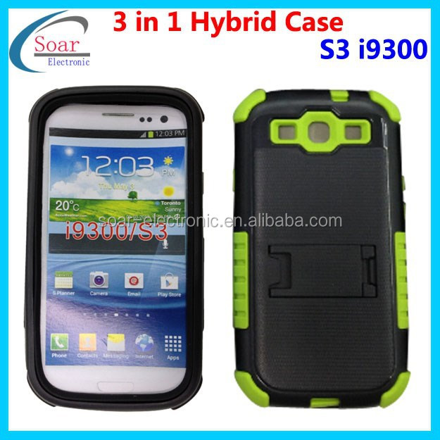 Multi Tone Soft Silicon Hybrid PC Case Cover For Samsung Galaxy S3 III i9300