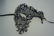 Beauty blue decoration graceful metal masquerade mask