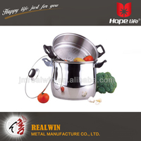Tempered Glass Lid stock pot and food steamer 3.0mm AL bottom commercial stainless steel cooking pot