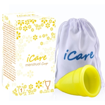 iCare International Brand Soft Menstrual Silicon Period Cup Large Size and S Size for Feminine Hygiene