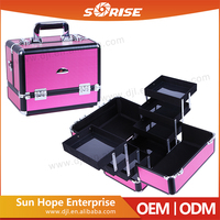 Multi-purpose professional aluminium lighted makeup train box case for wholesale