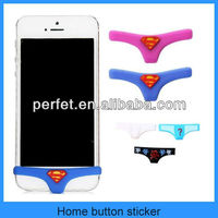 Superman underpants silicone home button sticker for iphone 4 5 5s(PT-I5H202)