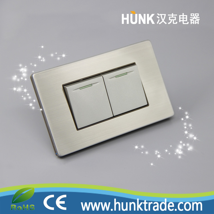 American type, 2 gang 1 way switch home used, 250V 10/15A types of electrical wall switches