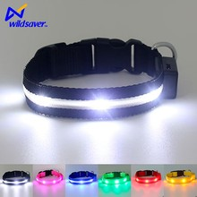 Waterproof fluorescent Light up Adjustable Glowing led usb rechargeable dog collars for pet
