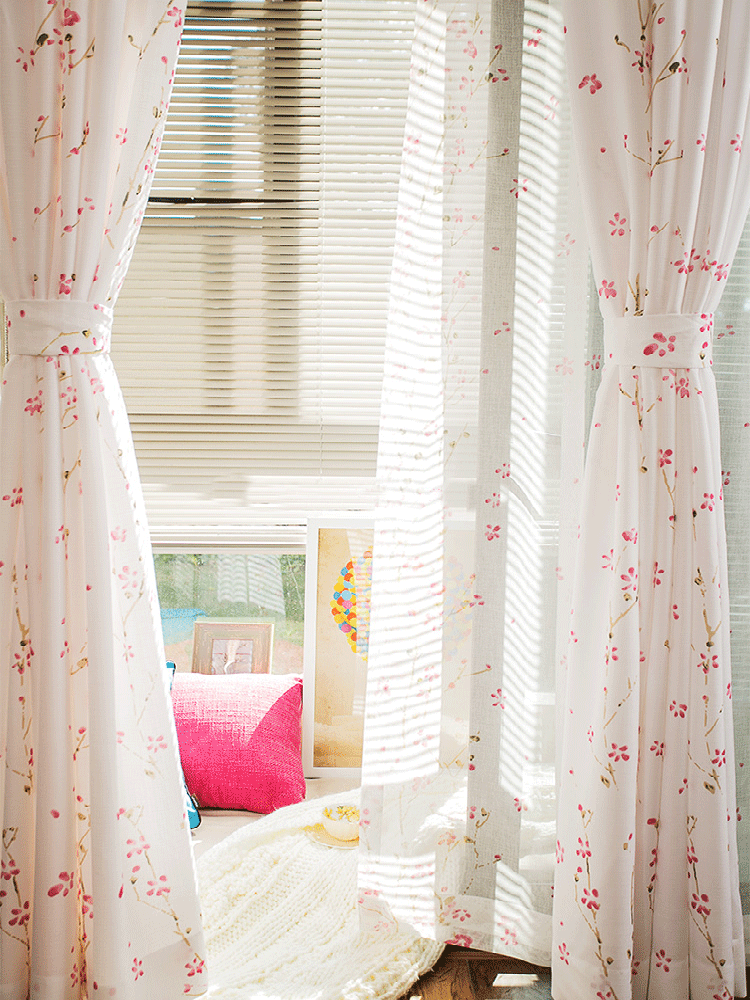 China wholesale cheap string embroidered voile curtain