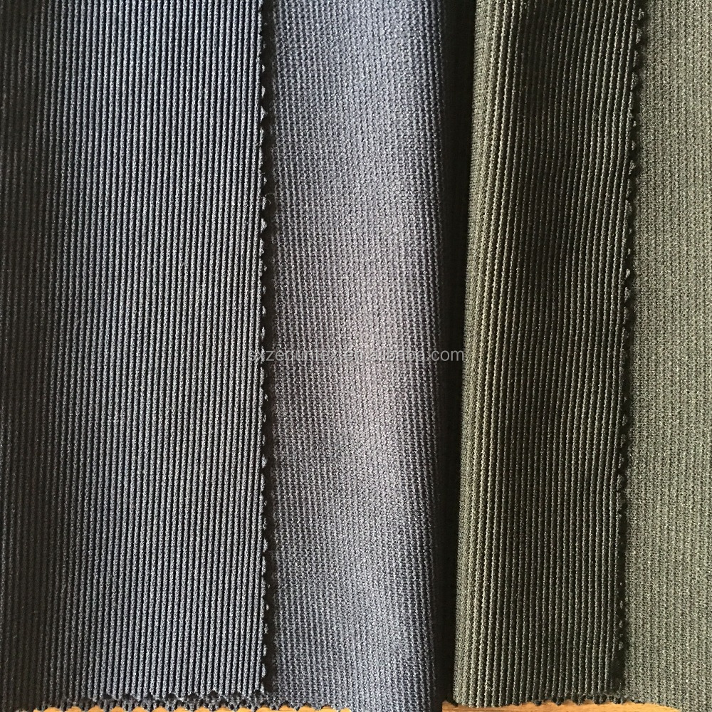 polyester spandex fabric ottoman rib knit fabric for skirt from Shaoxing Keqiao textile