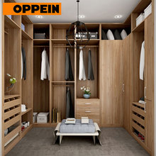 OPPEIN Guangzhou high quality open wardrobe melamine wooden walk in closet