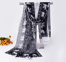 Low moq chiffon silk georgette fashion women long elephant animal printed scarf