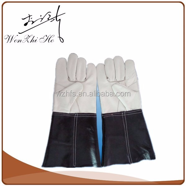 Splice Colors Elbow Length Welding Leather Gloves For Safety