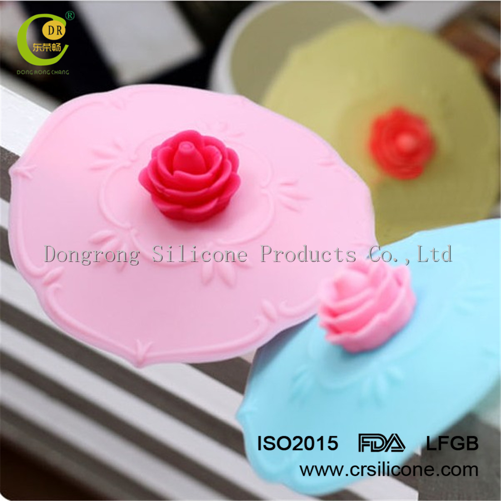 Alibaba china suppiler new product heat resisting lovely rose design folding silicone cup lid for glass