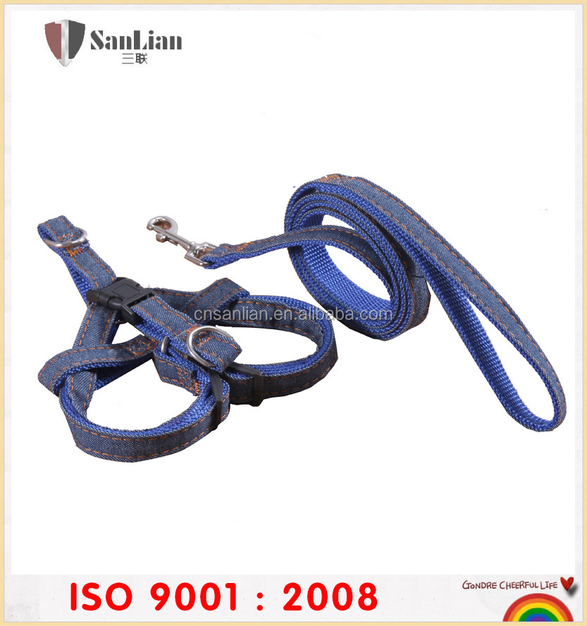 wholesale nylon denim best selling no pull dog leash and harness