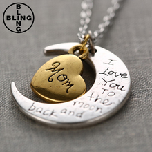 >>>Fashion Jewelry i Love You Mother Mom dad sister Gift Silver Gold Engraved Letter Pendants Necklace/