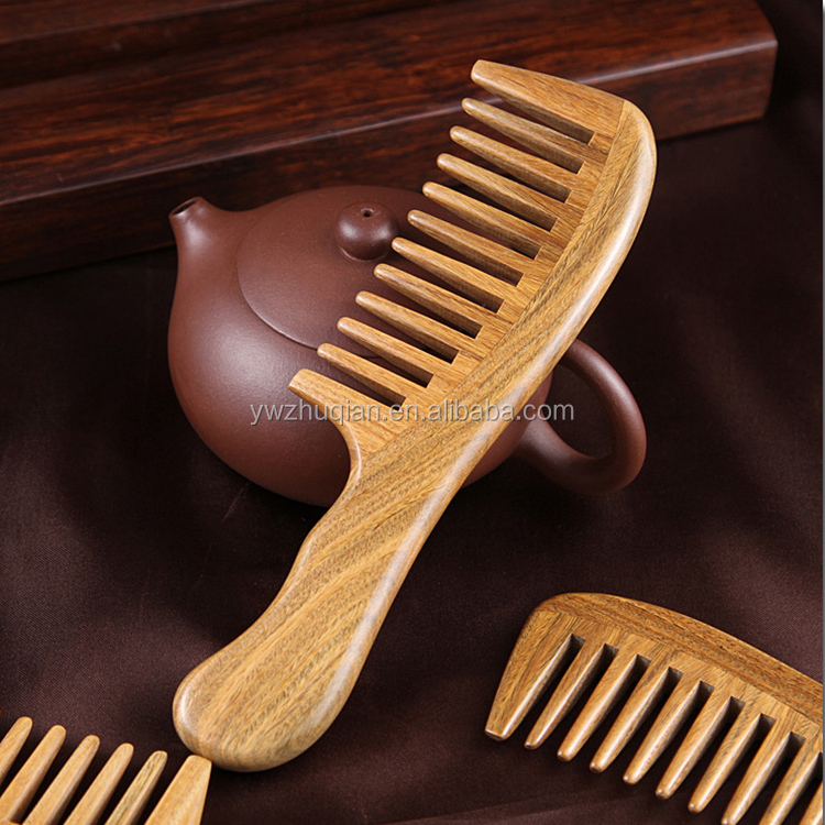 Wholesale high quality Sandalwood Wide Tooth Barber Wooden Comb