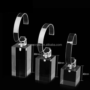 Single Clear Acrylic Bracelet Watch Display Stand / Holder with C Clip For Retail Shop Showcase