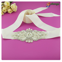 Wholesale hand sparkling flower bling silver lace bead crystal pearl Bailange Handmade beautiful rhinestone trimming
