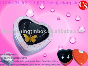 Jewellery heart shape tin box