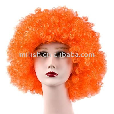 FBW-0075 Football Sports fans cheering Oranje team orange afro Wig