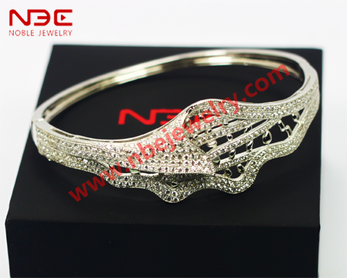 Turkish jewelry silver bangle, wax micro pave setting 925 silver lead and nickle free bangle jewellery
